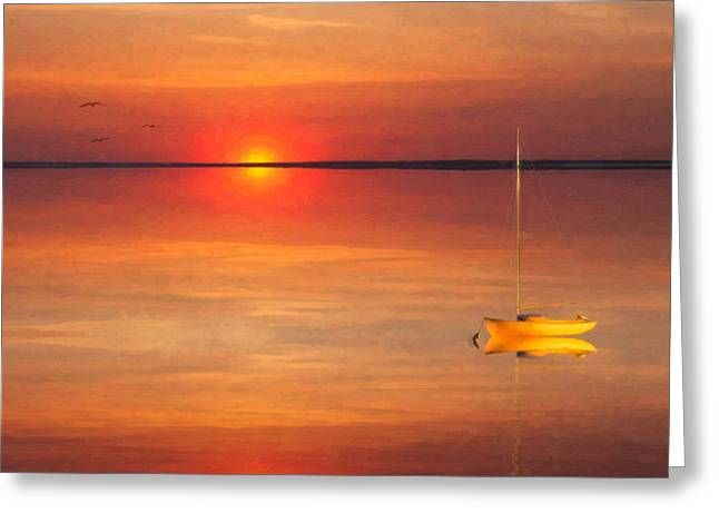 Moored At Sunset Greeting Card by Michael Petrizzo
