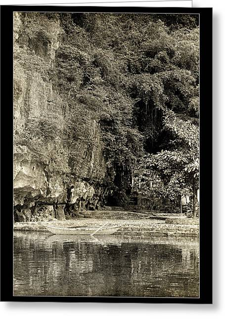 Binh Greeting Cards - Moored Boat by the River in Tam Coc Greeting Card by Weston Westmoreland