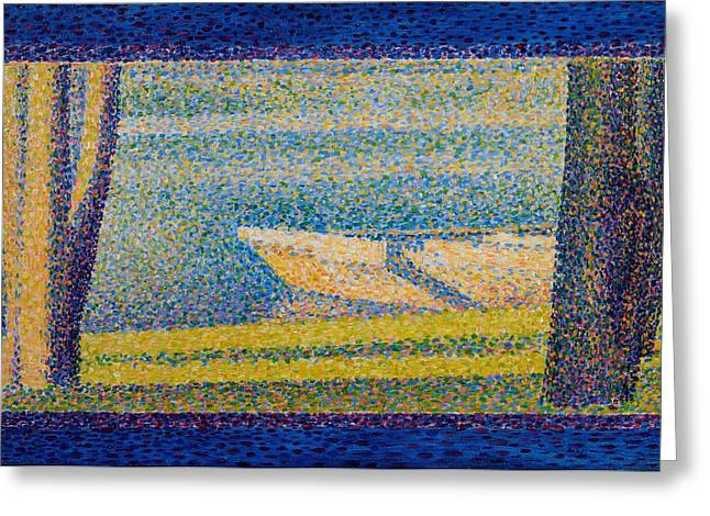 Seurat Greeting Cards - Moored Boats and Trees Greeting Card by Georges Seurat