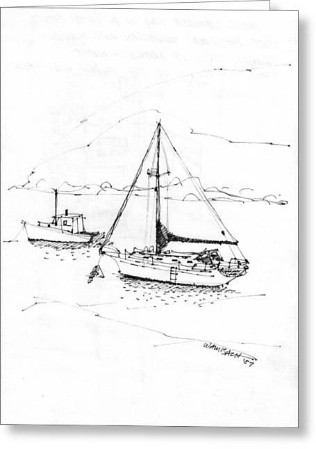 Maine Coast Drawings Greeting Cards - Moored Boats Monhegan Island Greeting Card by Richard Wambach
