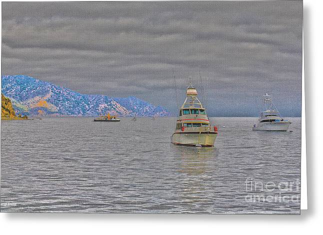 Foggy Ocean Greeting Cards - Moored Greeting Card by Cheryl Young