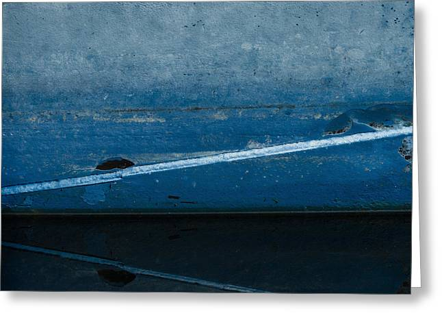Fishing Boat Reflection Greeting Cards - Moored in Blue Greeting Card by Carol Leigh