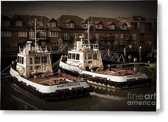 Working Boats Greeting Cards - Moored tug boats Greeting Card by Peter Noyce