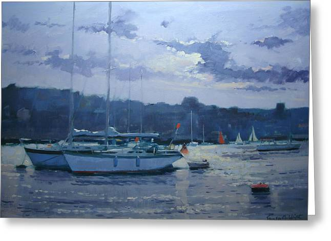 Moored Yachts Greeting Card by Jennifer Wright