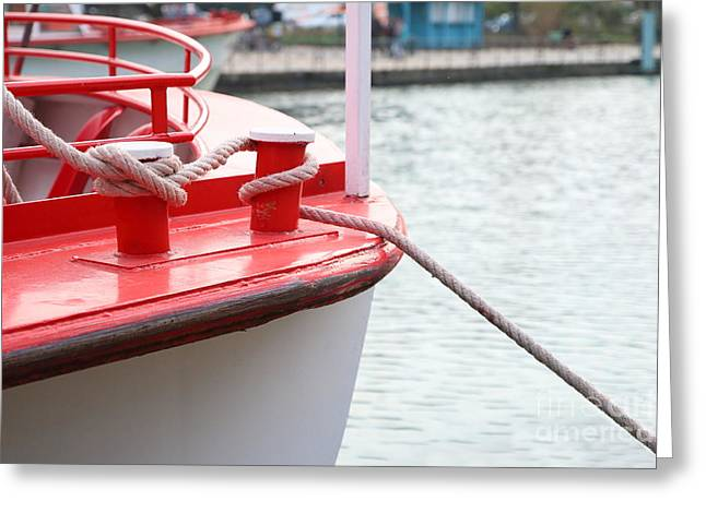 Water Vessels Greeting Cards - Mooring of a boat Greeting Card by Gregory DUBUS