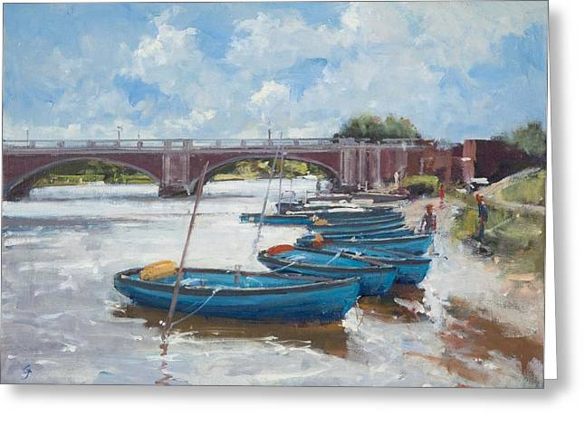 Hamptons Greeting Cards - Moorings At Hampton Court, 2011 Oil On Canvas Greeting Card by Christopher Glanville