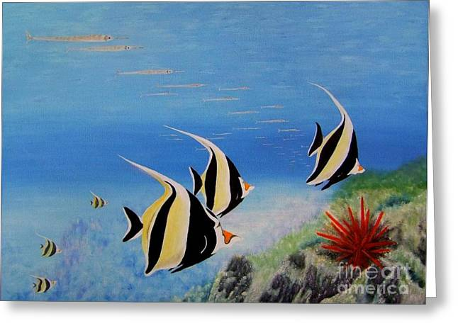 Mary Deal Greeting Cards - Moorish Idols Greeting Card by Mary Deal