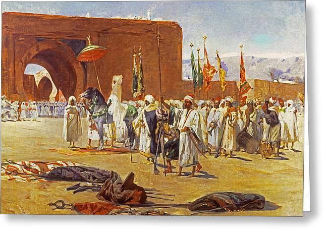Gateway Arch Greeting Cards - Moorish Procession Greeting Card by Jean Joseph Benjamin Constant