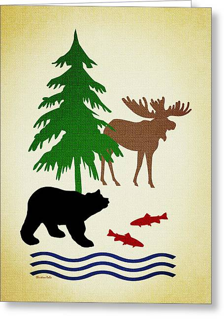 Moose And Bear Pattern Aged Greeting Card by Christina Rollo