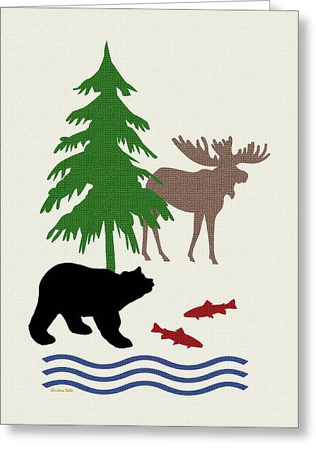 Woods Greeting Cards - Moose and Bear Pattern Art Greeting Card by Christina Rollo