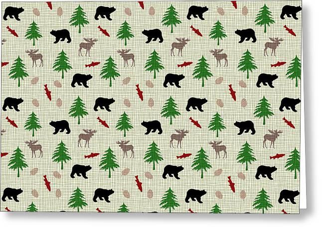 Cabin Greeting Cards - Moose and Bear Pattern Greeting Card by Christina Rollo