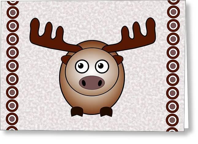 Cute Mixed Media Greeting Cards - Moose - Animals - Art for Kids Greeting Card by Anastasiya Malakhova