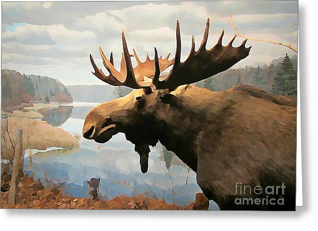 Reflection In Water Mixed Media Greeting Cards - Moose at Lake Greeting Card by John Malone