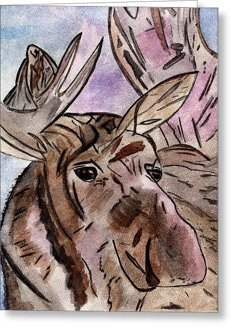 Illuminates Greeting Cards - Moose at Sunset Greeting Card by Elizabeth Briggs