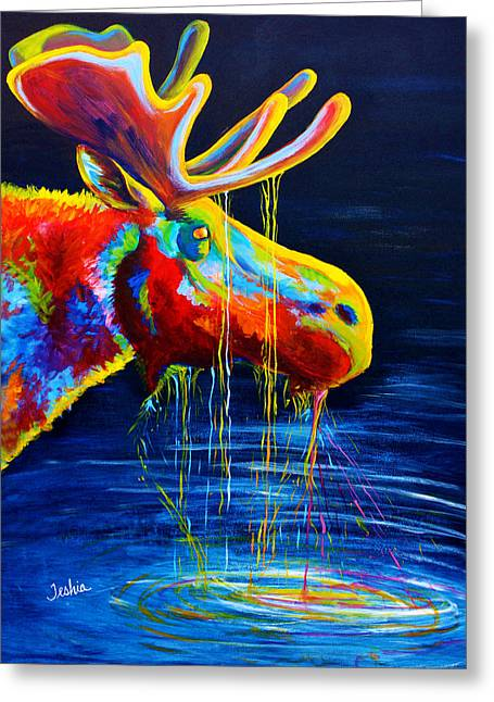 Colorful Animal Art Greeting Cards - Moose Drool Greeting Card by Teshia Art