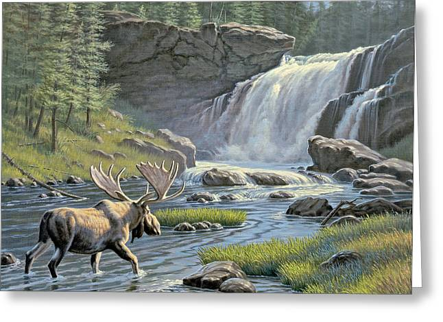 Yellowstone Greeting Cards - Moose Falls Greeting Card by Paul Krapf