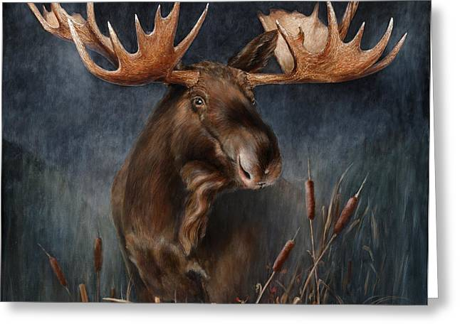 Moose Bull Greeting Cards - Moose in the Mist Greeting Card by Rob Dreyer AFC