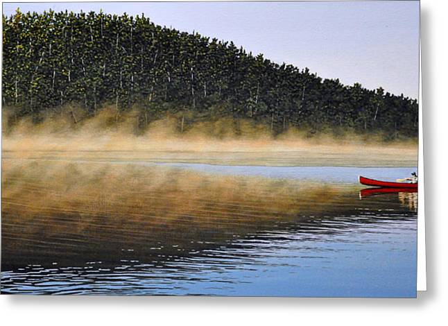 Canoe Paintings Greeting Cards - Moose Lake Paddle Greeting Card by Kenneth M  Kirsch