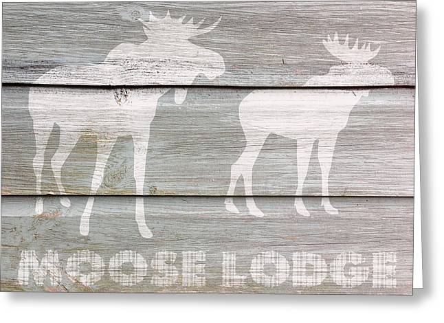 Black Lodge Greeting Cards - Moose Lodge Greeting Card by Celestial Images