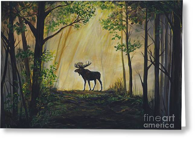 Moose Magnificent Greeting Card by Leslie Allen