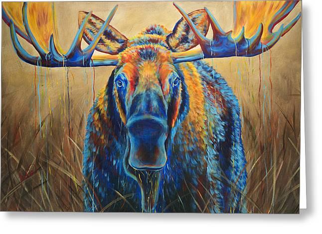 Moose Marsh Greeting Card by Teshia Art