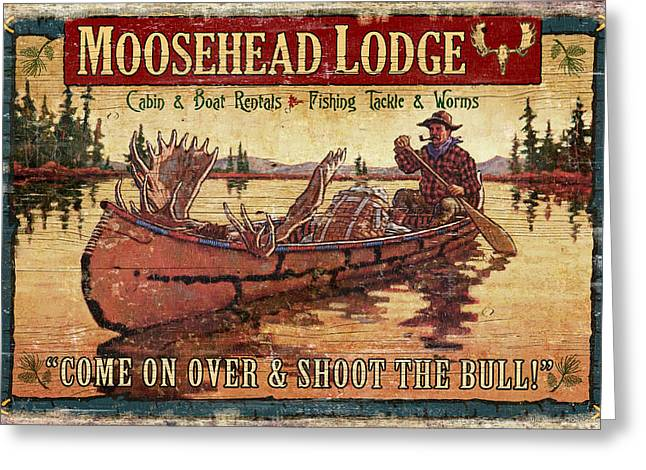 Hunting Cabin Greeting Cards - Moosehead Lodge Greeting Card by JQ Licensing