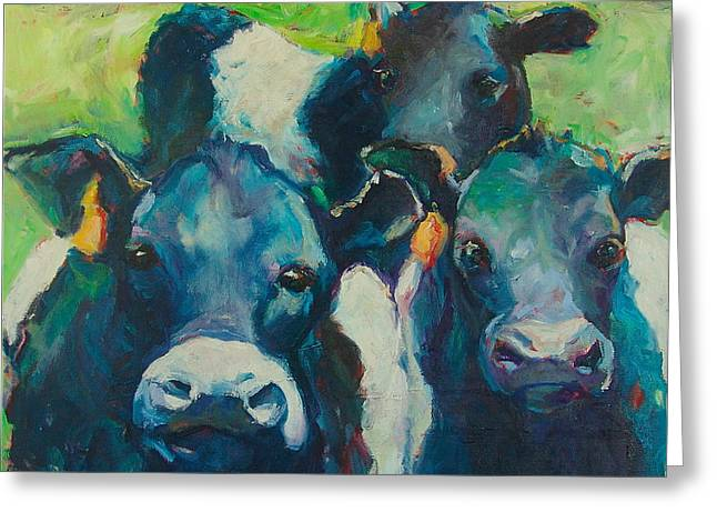 Three Cows Greeting Cards - Moove Over Greeting Card by Sue Scoggins