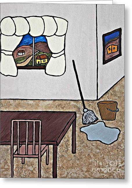 Acrylic Ceramics Greeting Cards - Essence of Home - Mop and Bucket Greeting Card by Sheryl Young