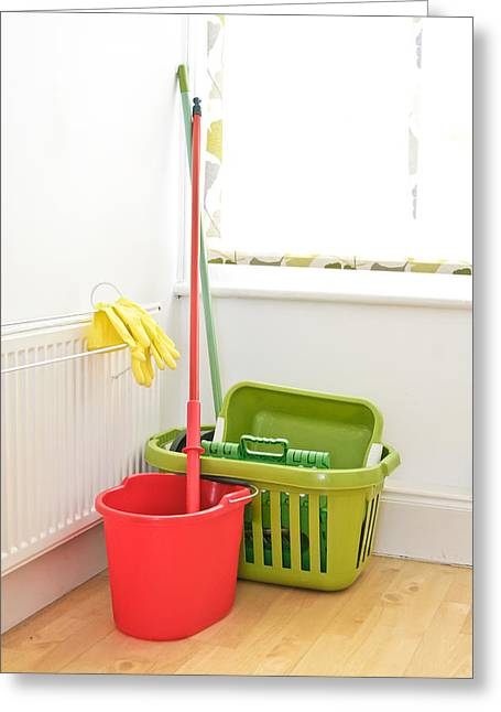 Weekend Photographs Greeting Cards - Mop and bucket Greeting Card by Tom Gowanlock