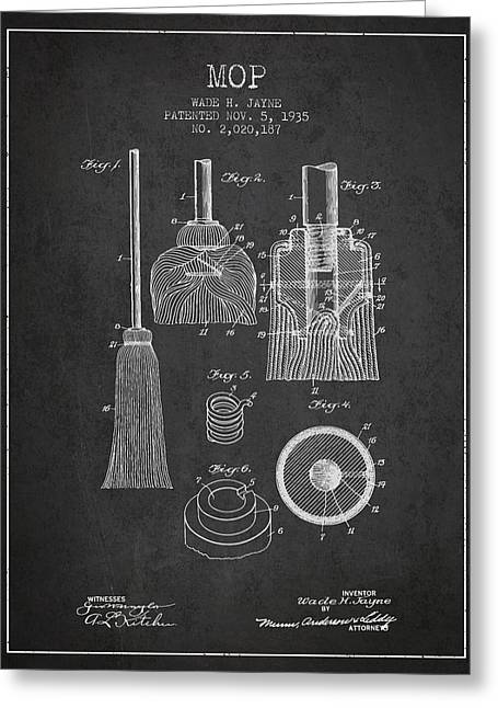 Broom Greeting Cards - Mop patent from 1935 - Charcoal Greeting Card by Aged Pixel