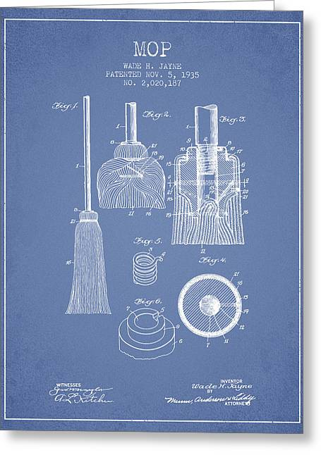 Broom Greeting Cards - Mop patent from 1935 - Light Blue Greeting Card by Aged Pixel