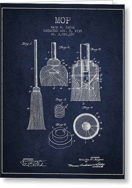 Mop Greeting Cards - Mop patent from 1935 - Navy Blue Greeting Card by Aged Pixel