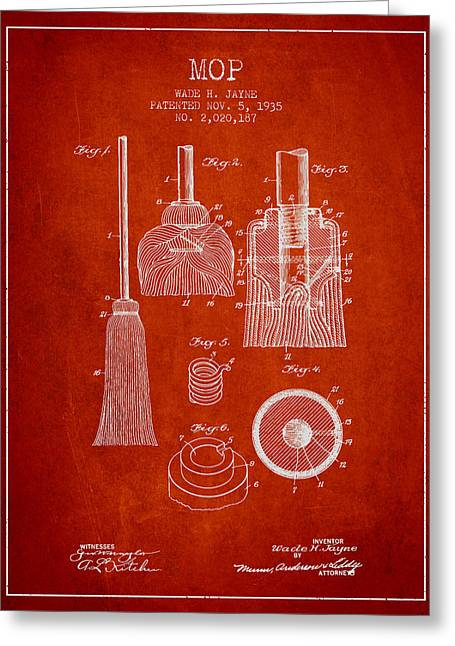 Broom Greeting Cards - Mop patent from 1935 - Red Greeting Card by Aged Pixel