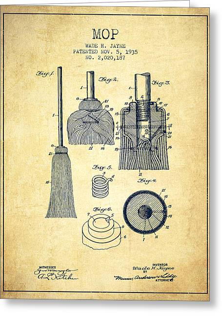 Broom Greeting Cards - Mop patent from 1935 - Vintage Greeting Card by Aged Pixel