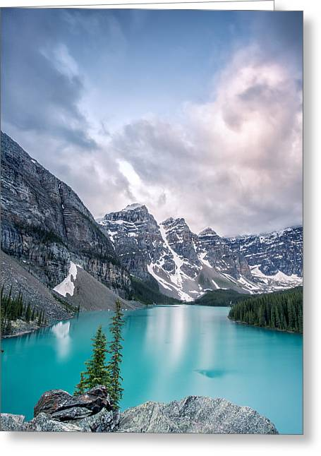 Snow Capped Photographs Greeting Cards - Moraine Cloud Burst Greeting Card by Jon Glaser