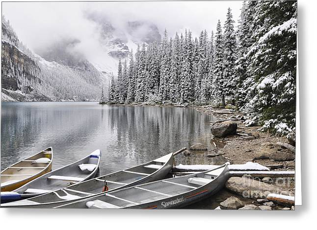 Framed Winter Snow Photograph Greeting Cards - Moraine Lake 3 Greeting Card by Wendy Elliott