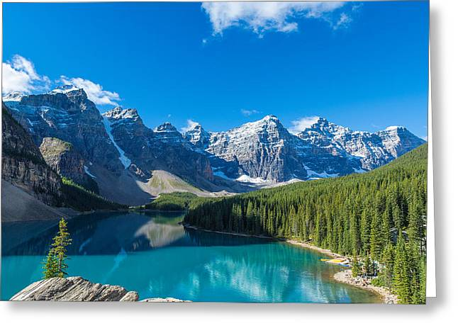 Non Urban Scene Greeting Cards - Moraine Lake At Banff National Park Greeting Card by Panoramic Images