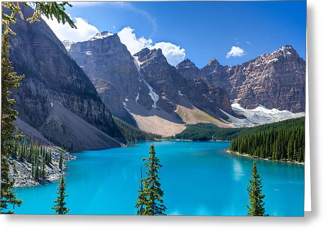 Mountain Reflection Lake Summit Mirror Greeting Cards - Moraine Lake - Banff National Park Greeting Card by Matt Dobson