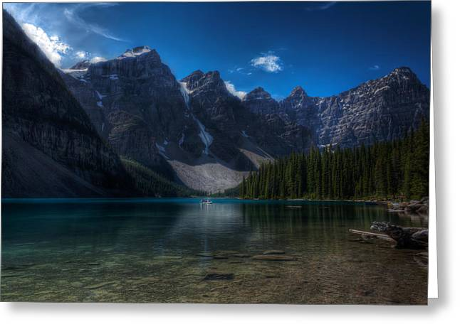 Mountain Reflection Lake Summit Mirror Greeting Cards - Moraine Lake Greeting Card by Matt Dobson