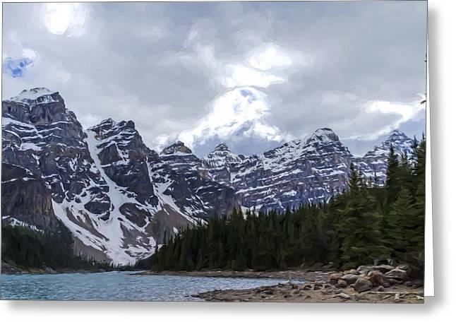 Moraine Lake Nestled In The Valley Of The Ten Peaks - Banff National Park Greeting Card by Jordan Blackstone