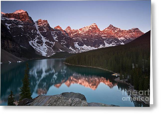Mountain Reflection Lake Summit Mirror Greeting Cards - Moraine Lake Sunrise Greeting Card by Ivy Ho