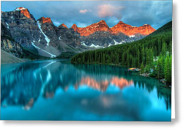 Alberta Landscape Greeting Cards - Moraine Lake Sunrise Greeting Card by James Wheeler