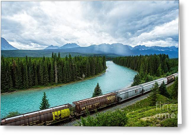 Morant's Curve Bow Valley Banff National Park Canada Greeting Card by Edward Fielding