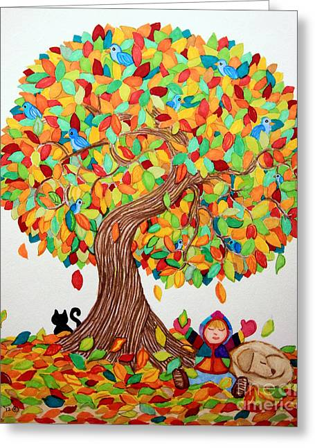 Colorful Trees Drawings Greeting Cards - More Fall Fun Greeting Card by Nick Gustafson