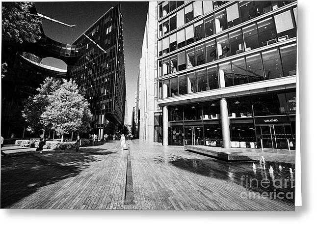 Rill Greeting Cards - more london riverside place with the rill water feature London England UK Greeting Card by Joe Fox