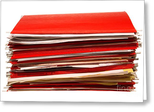 Filed Greeting Cards - More Paperwork Greeting Card by Olivier Le Queinec