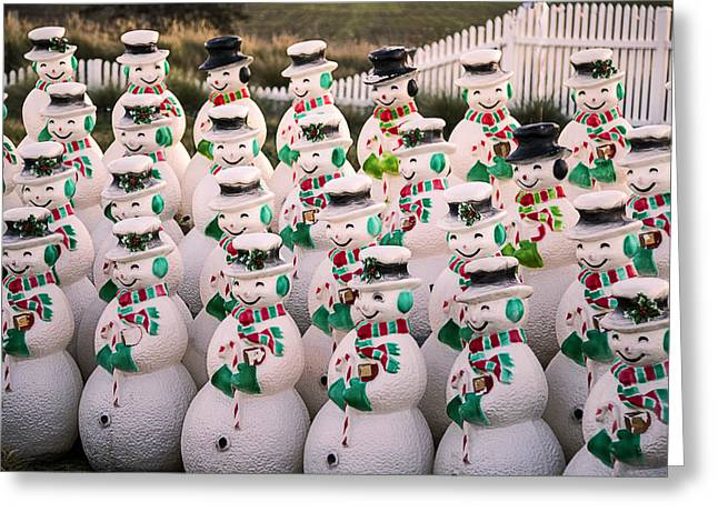 Fence Row Greeting Cards - More Snowmen Greeting Card by Garry Gay
