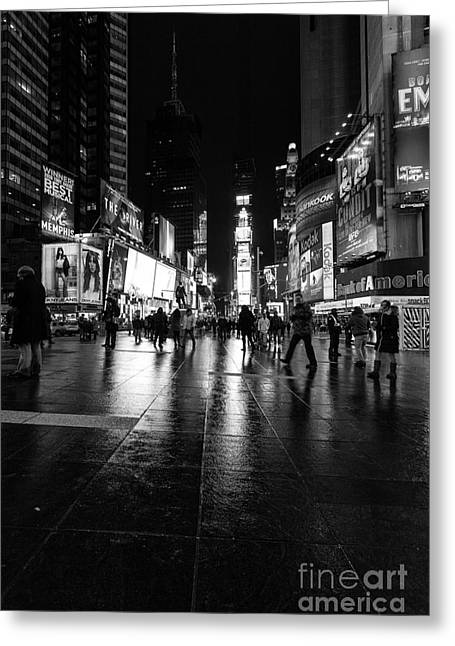 Nyc Winter Greeting Cards - More TImes Square mono Greeting Card by John Farnan