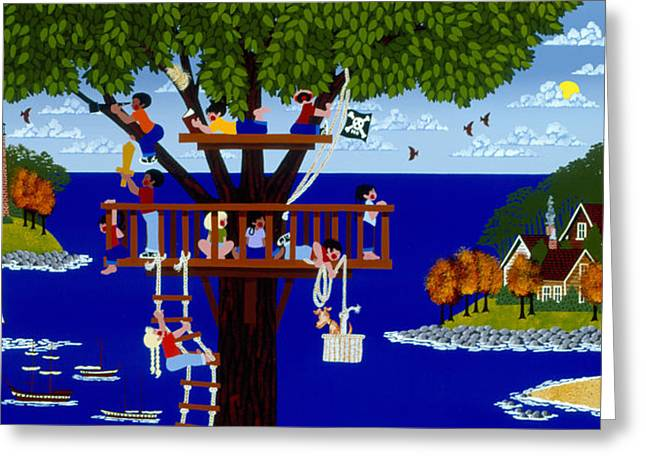 Treehouse Greeting Cards - More Treetop Pirates Greeting Card by Merry  Kohn Buvia