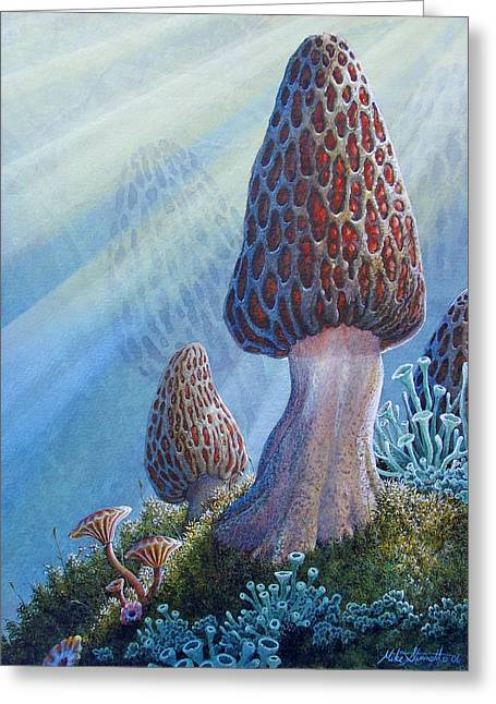 Toadstools Greeting Cards - Morel Mushrooms Greeting Card by Mike Stinnett